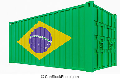 3D Illustration of Cargo Container with Brazil Flag