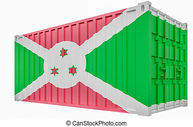 3D Illustration of Cargo Container with Burundi Flag