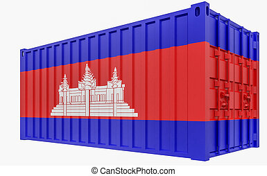 3D Illustration of Cargo Container with Cambodia Flag