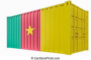3D Illustration of Cargo Container with Cameroon Flag