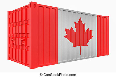 3D Illustration of Cargo Container with Canada Flag