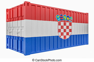 3D Illustration of Cargo Container with Croatia Flag