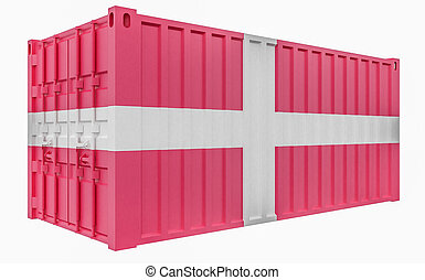3D Illustration of Cargo Container with Denmark Flag