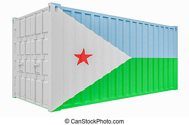 3D Illustration of Cargo Container with Djibouti Flag