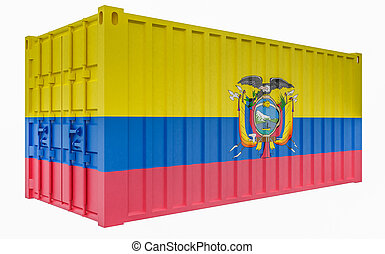 3D Illustration of Cargo Container with Ecuador Flag