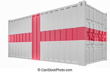 3D Illustration of Cargo Container with England Flag
