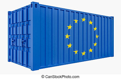 3D Illustration of Cargo Container with European Union Flag