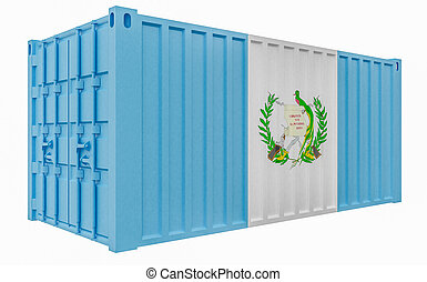 3D Illustration of Cargo Container with Guatemala Flag