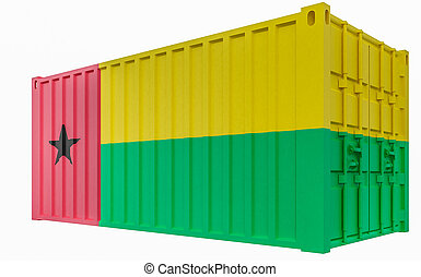 3D Illustration of Cargo Container with Guinea-Bissau Flag
