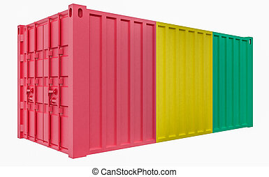 3D Illustration of Cargo Container with Guinea Flag