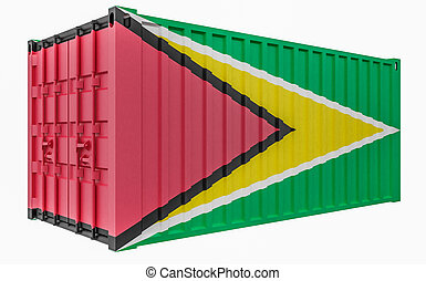 3D Illustration of Cargo Container with Guyana Flag