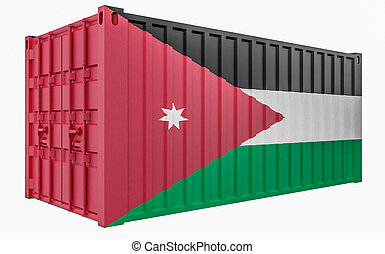 3D Illustration of Cargo Container with Jordan Flag