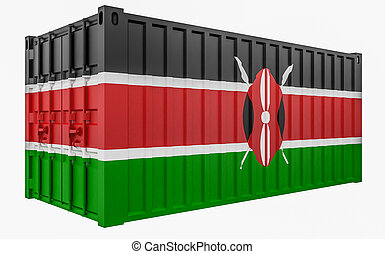 3D Illustration of Cargo Container with Kenya Flag