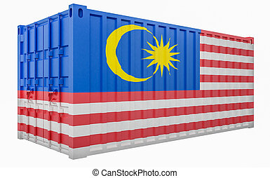 3D Illustration of Cargo Container with Malaysia Flag