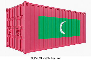 3D Illustration of Cargo Container with Maldives Flag