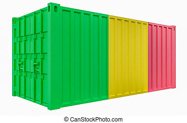 3D Illustration of Cargo Container with Mali Flag