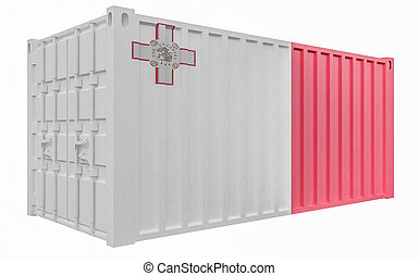 3D Illustration of Cargo Container with Malta Flag