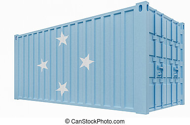 3D Illustration of Cargo Container with Micronesia Flag