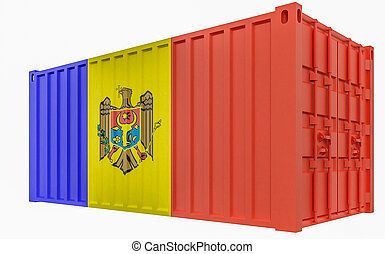 3D Illustration of Cargo Container with Moldova Flag