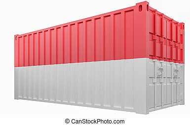 3D Illustration of Cargo Container with Monaco Flag