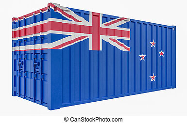 3D Illustration of Cargo Container with New Zealand Flag