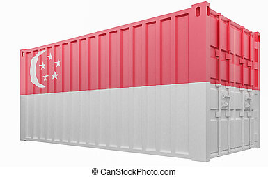 3D Illustration of Cargo Container with Singapore Flag