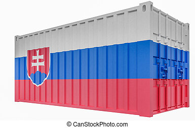 3D Illustration of Cargo Container with Slovakia Flag