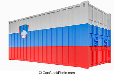 3D Illustration of Cargo Container with Slovenia Flag