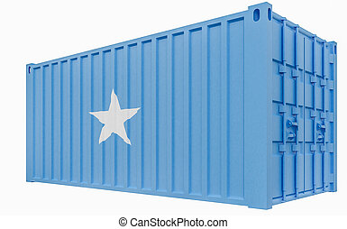 3D Illustration of Cargo Container with Somalia Flag