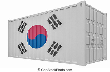 3D Illustration of Cargo Container with South Korea Flag