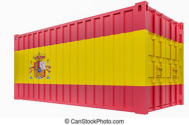 3D Illustration of Cargo Container with Spain Flag