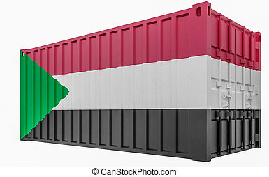 3D Illustration of Cargo Container with Sudan Flag