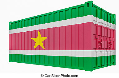 3D Illustration of Cargo Container with Suriname Flag