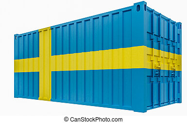 3D Illustration of Cargo Container with Sweden Flag