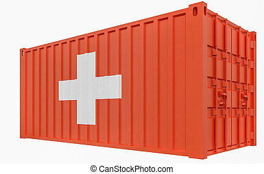 3D Illustration of Cargo Container with Switzerland Flag