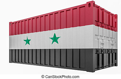 3D Illustration of Cargo Container with Syria Flag