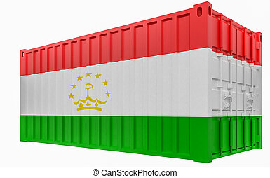 3D Illustration of Cargo Container with Tajikistan Flag