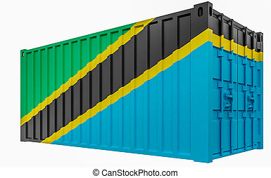 3D Illustration of Cargo Container with Tanzania Flag