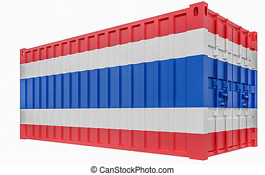 3D Illustration of Cargo Container with Thailand Flag