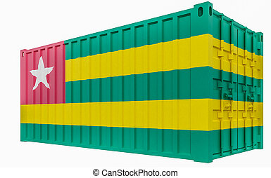 3D Illustration of Cargo Container with Togo Flag
