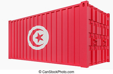 3D Illustration of Cargo Container with Tunisia Flag