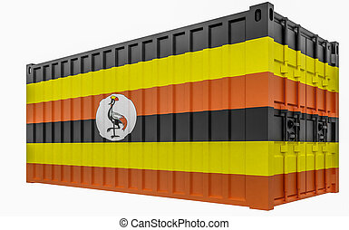 3D Illustration of Cargo Container with Uganda Flag