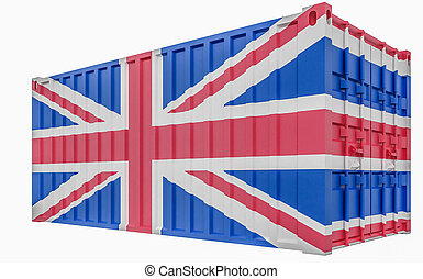 3D Illustration of Cargo Container with United Kingdom Flag