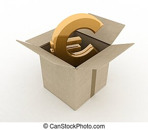 3d illustration of carton box with euro sign inside