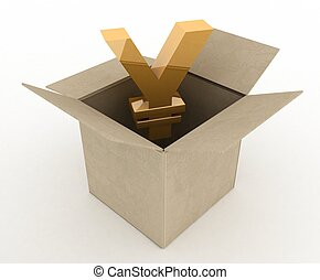 3d illustration of carton box with yen sign inside