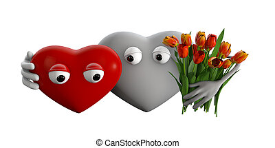 3d Illustration Of Cartoon Hearts With Flowers
