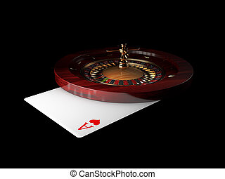 3d Illustration of casino roulette with ace play card, on black background