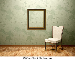 3d illustration of chair frame in the green room