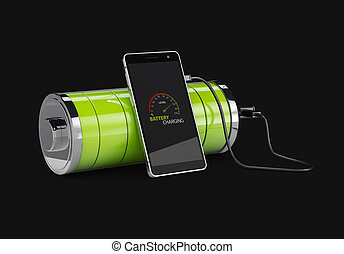 3d Illustration of Charged Smartphone with full green battery, isolated black