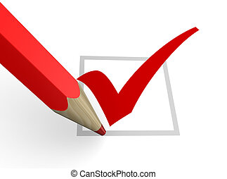 check - 3d illustration of checkbox and red pencil
